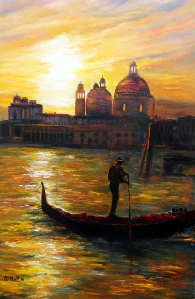 Sunset in Venice painted by Katherine McNeill/Mascott
